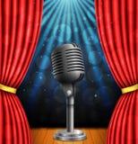 Étape avec les curtians, le microphone et le projecteur rouges illustration de vecteur