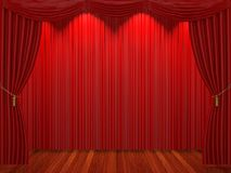 Étape avec les rideaux et le projecteur rouges Photos libres de droits