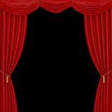 Étape avec les rideaux et le projecteur rouges Image libre de droits
