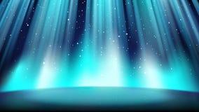 Étape bleue vide avec un fond foncé, illuminé par un projecteur lumineux illustration stock