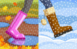 Étape d'automne à l'hiver Images libres de droits