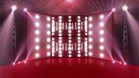 Étape 3d de concert de foule rouge-clair illustration stock
