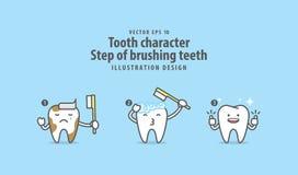 Étape de caractère de dent de vecteur de brossage d'illustration de dents illustration stock