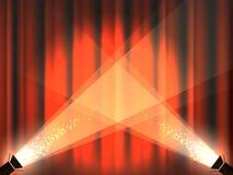 Étape de cru avec les rideaux et les lumières rouges de tache illustration stock