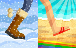 Étape de l'hiver à l'été Photographie stock