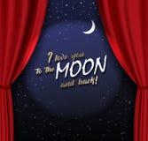 Étape de Teather avec le rideau lourd rouge avec le texte et la lune d'or illustration libre de droits