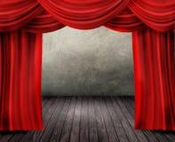 Étape de théâtre avec le rideau rouge Photo stock