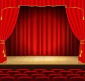 Étape de théâtre avec le rideau rouge Images libres de droits