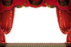 Étape de théâtre avec le rideau rouge (avec le chemin) Illustration Stock