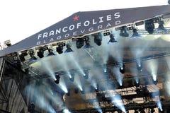 Étape et lumières sur le festival de Francofolies dans Blagoevgrad, Bulgarie 18 06 2016 Images stock