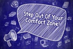 Étape hors de votre zone de confort - concept d'affaires Images stock