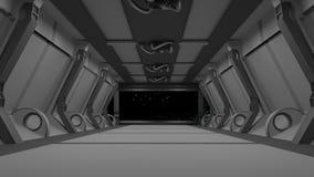 Étape intérieure futuriste de couloir rendu 3d illustration libre de droits