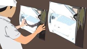 Étape 5 préparent la mesure d'envelopper une action de bande dessinée de vecteur de voiture de film photos libres de droits