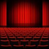 Étape rouge de théâtre de rideaux Photo stock