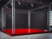 Étape rouge vide avec le cadre, lightspots rendu 3d Images stock