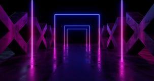 Étape rougeoyante au néon psychédélique Asphalt Cement Runge Concrete Columns cruciforme d'exposition de laser de pourpre bleu de illustration stock