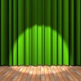 Étape verte de rideau avec une lumière d'endroit Images libres de droits
