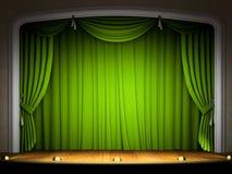Étape vide avec le rideau vert Photographie stock