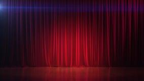 Étape vide foncée avec le rideau en rouge riche 3d rendent Photo libre de droits