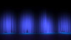 Étape vide foncée avec les rideaux bleus riches en velours 3d rendent image stock