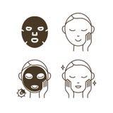 Étapes comment employer le masque facial de feuille Image stock