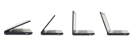 Étapes d'ouverture d'ordinateur portable Photo libre de droits