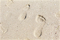 Étapes dans le sable Photos libres de droits