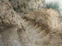 Étapes dans une falaise d'argile à la plage Photographie stock libre de droits