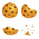 Étapes de Chip Cookies In Different Eating de chocolat illustration stock