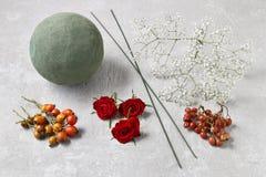 Étapes de faire la boule décorative avec la hanche rose, l'aubépine et le rowa Photo stock