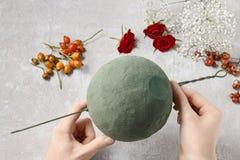 Étapes de faire la boule décorative avec la hanche rose, l'aubépine et le rowa Photos libres de droits