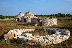 Étapes de la construction des maisons traditionnelles d'Istrian Photos stock
