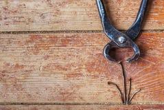 Étapes de la réparation à la maison - pour retirer les vieux clous Images stock