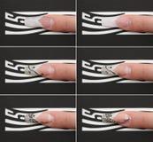 Étapes de produire le bel ongle Photographie stock libre de droits