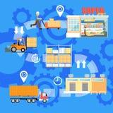 Étapes des marchandises embarquant l'infographics illustration stock