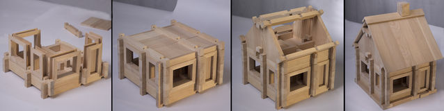 Étapes en bois d'ensemble de maison Photos stock