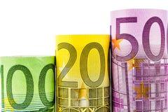 Étapes en hausse faites de grands euro billets de banque Photographie stock