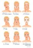 Étapes faciales de soins de la peau de femmes de base Illustration infographic de vecteur sur le fond blanc Image libre de droits