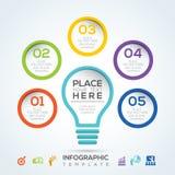 Étapes graphiques de présentation de diagramme d'infos d'ampoule illustration libre de droits