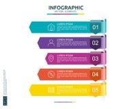 5 étapes infographic calibre de conception de chronologie avec l'élément de papier de la flèche 3D Concept d'affaires avec des op Photographie stock libre de droits