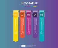 5 étapes infographic calibre de conception de chronologie avec l'élément de papier de la flèche 3D Concept d'affaires avec des op Image libre de droits