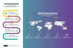 5 étapes infographic le calibre de conception de chronologie avec l'élément de flèche et la carte du monde goupillent le fond Con Images stock