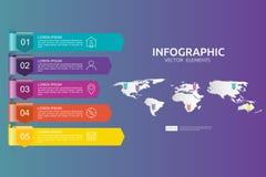 5 étapes infographic le calibre de conception de chronologie avec l'élément de flèche et la carte du monde goupillent le fond Con Image libre de droits