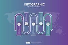 5 étapes infographic le calibre de conception de chronologie avec l'élément de flèche et la carte du monde goupillent le fond Con Image stock