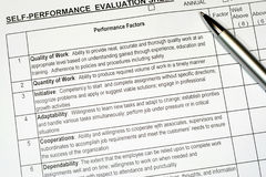État d'évaluation des performances Photographie stock