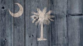 État d'USA Carolina Flag Wooden Fence du sud photographie stock