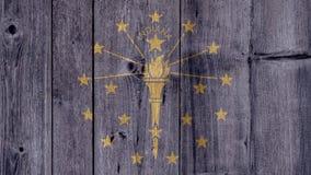 État d'USA Indiana Flag Wooden Fence photographie stock libre de droits