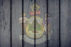 État d'USA Maine Flag Wooden Fence illustration stock