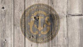 État d'USA Rhode Island Seal Wooden Fence illustration de vecteur
