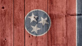 État d'USA Tennessee Flag Wooden Fence photos libres de droits